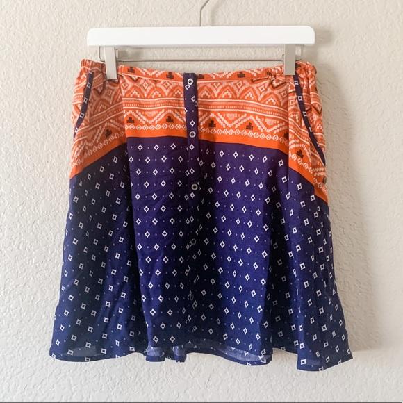 Roxy Dresses & Skirts - NWT! Roxy Cosmia Blue Orange Button Up Skirt, M
